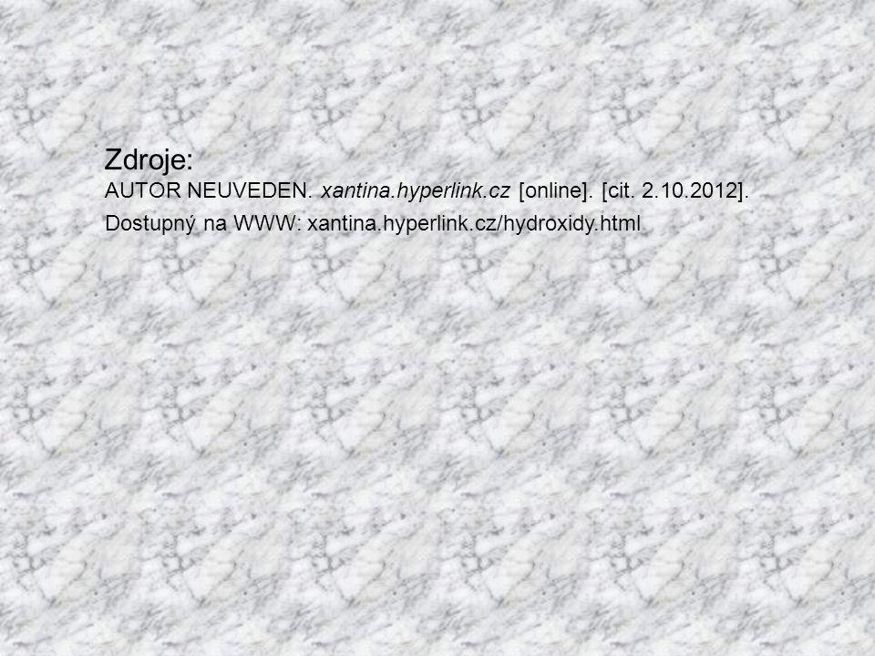 Zdroje: AUTOR NEUVEDEN. xantina.hyperlink.cz [online].